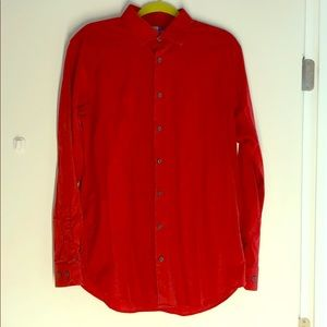 Large 14th & Union Red Trim Fit Button Down
